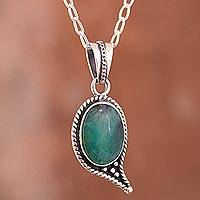 Opal pendant necklace, 'Mystery of the Oval' - Oval Opal Pendant Necklace Crafted in Peru