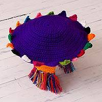Alpaca blend chullo hat, 'Inca Festival in Blue-Violet' - Crocheted Alpaca Blend Chullo Hat in Blue-Violet from Peru