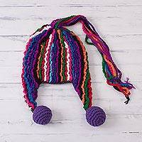Alpaca blend chullo hat, 'Carnival Mood' - Colorful Hand-Crocheted Chullo Hat from Peru