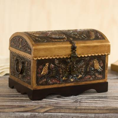 Leather and wood decorative box, 'Bird Chest' - Bird Pattern Leather and Wood Decorative Box from Peru