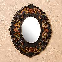 Reverse-painted glass wall mirror, 'Black Colonial Wreath' - Black Floral Reverse-Painted Glass Wall Mirror from Peru