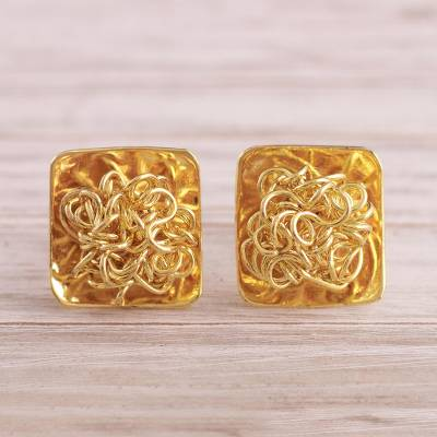 Gold plated sterling silver button earrings, 'Flirt' - Modern 18k Gold Plated Sterling Silver Button Earrings