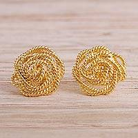 Gold plated sterling silver button earrings, 'Rope Roses' - Rope Pattern 18k Gold Plated Sterling Silver Button Earrings