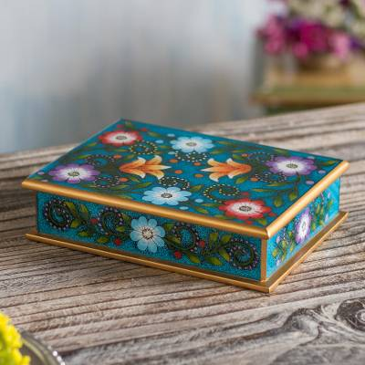 Reverse-painted glass decorative box, Margarita Garden in Blue