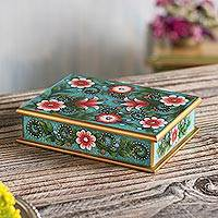Reverse-painted glass decorative box, 'Verdant Margarita Garden' - Pink and Green Floral Reverse-Painted Glass Decorative Box