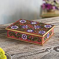 Reverse-painted glass decorative box, 'Margarita Bliss in Pink' - Purple and Pink Reverse-Painted Glass Decorative Box