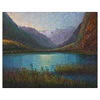 'Llanganuco Gorge' - Signed Impressionist Painting of a Gorge in Peru