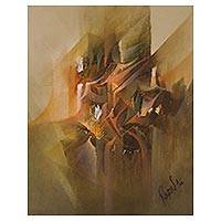 'Analysis of Color' - Signed Abstract Painting in Brown from Peru