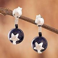 Lapis lazuli drop earrings, 'Starry Galaxy' - Star Motif Lapis Lazuli Drop Earrings from Peru