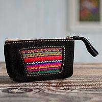 Wool accented suede coin purse, 'Mysterious Inca' - Wool Accented Black Suede Coin Purse from Peru