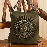 Suede sling, 'Lively Spiral in Olive' - Handcrafted Suede Sling in Olive from Peru