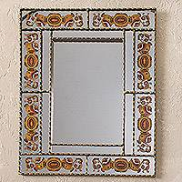 Reverse-painted glass wall mirror, 'Reflective Bouquet' - Orange Floral Reverse-Painted Glass Wall Mirror from Peru