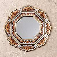 Reverse-painted glass wall mirror, 'Colonial Star' - Orange Floral Reverse-Painted Glass Wall Mirror from Peru