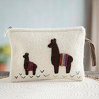 100% alpaca clutch, 'Dark Llamas in Eggshell' - Eggshell 100% Alpaca Clutch with Dark Llama Patchwork