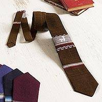 Men's tie, 'Noble Llama in Chestnut' - Chestnut Llama Pattern Men's Tie from Peru