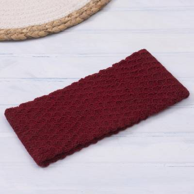 100% baby alpaca ear warmer, 'Passionate Waves in Crimson' - Wave Pattern 100% Baby Alpaca Headband in Crimson from Peru