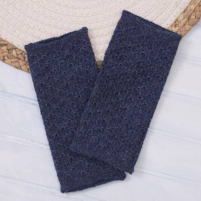 100% baby alpaca fingerless mitts, 'Passionate Pattern in Indigo' - Patterned 100% Baby Alpaca Fingerless Mitts from Peru