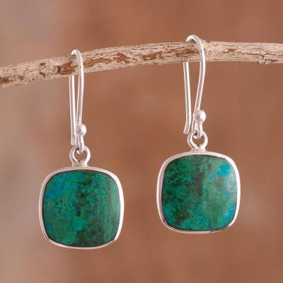 Chrysocolla dangle earrings, 'Window' - Square Chrysocolla Dangle Earrings from Peru