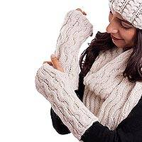 100% alpaca fingerless mitts, 'Wavy Winter' - Hand-Knit Wave Pattern 100% Alpaca Fingerless Mitts