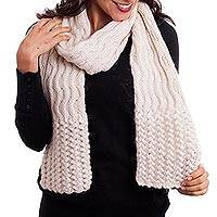 100% alpaca scarf, 'Wavy Winter' - Hand-Knit Wave Pattern 100% Alpaca Wrap Scarf from Peru