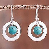 Sterling silver and reconstituted turquoise dangle earrings, 'Beautiful Planets' - Sterling Silver and Reconstituted Turquoise Dangle Earrings