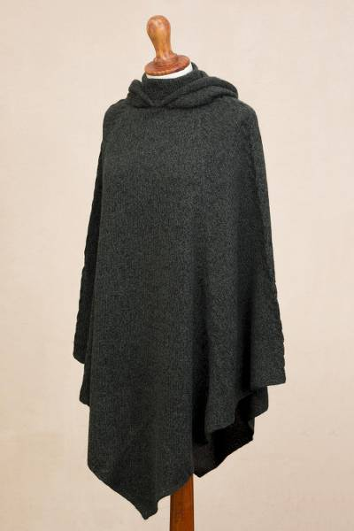Alpaca blend hooded poncho, 'Adventurous Style in Moss' - Knit Alpaca Blend Hooded Poncho in Moss from Peru