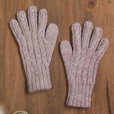 100% alpaca gloves, 'Winter Delight in Light Mauve' - Cable Knit 100% Alpaca Gloves in Light Mauve from Peru