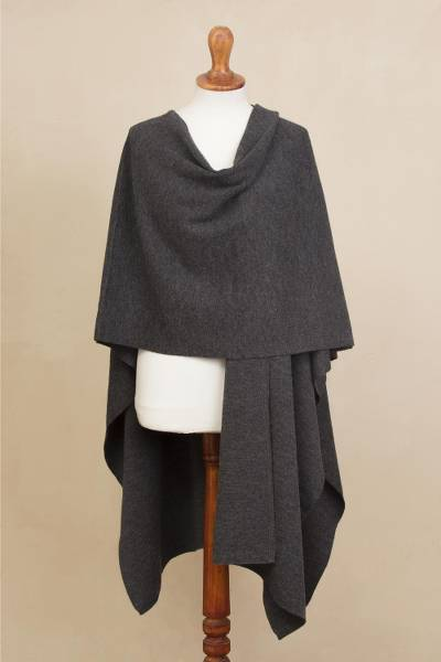 Alpaca blend ruana, 'Elegant Fashion in Graphite' - Knit Alpaca Blend Ruana in Graphite from Peru