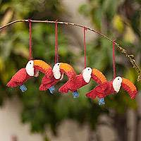 100% alpaca ornaments, 'Holiday Toucans' (set of 4) - 100% Alpaca Toucan Ornaments from Peru (Set of 4)
