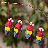 100% alpaca ornaments, 'Holiday Parrots' (set of 4) - 100% Alpaca Macaw Parrot Ornaments from Peru (Set of 4)