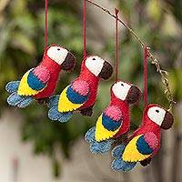100% alpaca ornaments, 'Holiday Macaws' (set of 4) - 100% Alpaca Multicolored Macaw Ornaments (Set of 4)