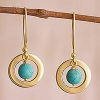Gold plated reconstituted turquoise dangle earrings, 'Beautiful Planets' - 24k Gold Plated Reconstituted Turquoise Dangle Earrings