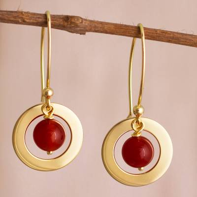 Gold plated carnelian dangle earrings, Beautiful Planets