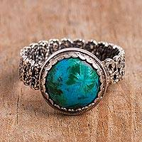 Chrysocolla filigree cocktail ring, 'Andean Power' - Chrysocolla Cocktail Ring with a Filigree Band from Peru