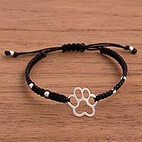 Sterling silver pendant bracelet, 'Doggy Print in Black' - Sterling Silver Paw Print Pendant Bracelet in Black