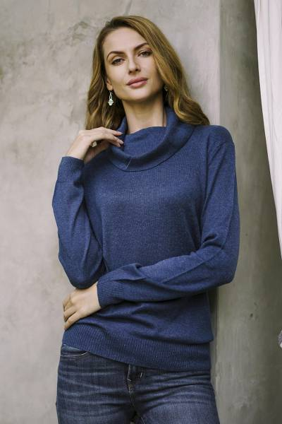 Cotton blend pullover, Royal Blue Versatility