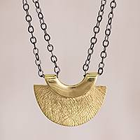 Gold accented sterling silver pendant necklace, 'Modern Glam' - Modern Gold Accented Sterling Silver Pendant Necklace