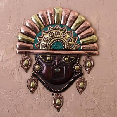 Copper and bronze wall sculpture, 'Moche Divinity' - Copper and Bronze Moche Wall Sculpture with Chrysocolla