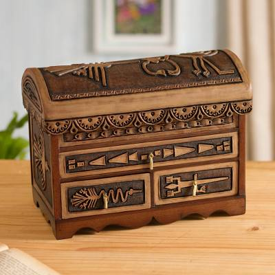 Leather and cedar wood jewelry chest, 'Nazca Mysteries' - Nazca Pattern Leather and Cedar Wood Jewelry Chest from Peru