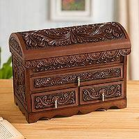 Leather and cedar wood jewelry chest, 'Impressive Birds' - Bird Pattern Leather and Cedar Wood Jewelry Chest from Peru