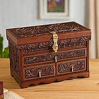 Leather and cedar wood jewelry chest, 'Intricate Nature' - Nature-Inspired Leather and Cedar Wood Jewelry Chest