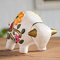 Ceramic figurine, 'Floral Bull in White' - Hand-Painted Floral Ceramic Bull Figurine in White from Peru