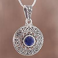 Sodalite pendant necklace, 'Inti Sun God' - Sodalite Inti Pendant Necklace from Peru