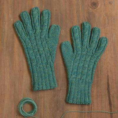 100% alpaca gloves, 'Winter Delight in Jade' - 100% Alpaca Gloves in Jade from Peru