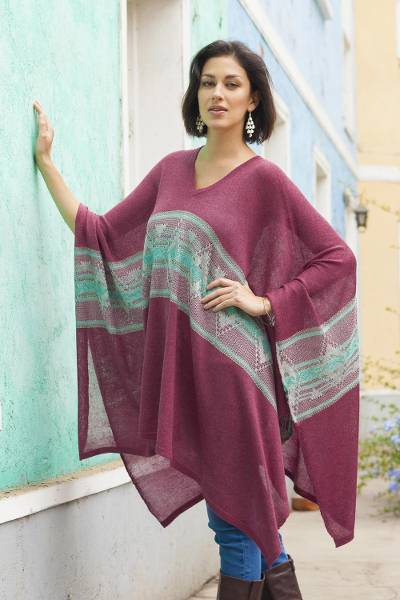 Cotton blend poncho, 'Cerise Legend' - Geometric Pattern Cotton Blend Poncho in Cerise from Peru