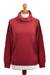 Cotton blend pullover, 'Cerise Red Versatility' - Knit Cotton Blend Pullover in Solid Cerise Red from Peru (image 2a) thumbail