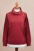 Cotton blend pullover, 'Cerise Red Versatility' - Knit Cotton Blend Pullover in Solid Cerise Red from Peru (image 2b) thumbail