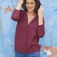 Cotton blend hooded cardigan, 'Simple Delight in Cerise' - Cotton Blend Hooded Cardigan in Cerise from Peru