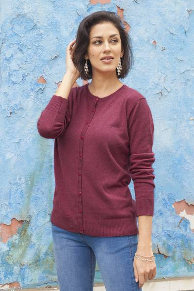 Cotton blend cardigan, 'Simple Style in Cerise' - Cotton Blend Button-Up Cardigan in Cerise from Peru