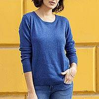 Cotton blend pullover, 'Warm Valley in Royal Blue' - Knit Cotton Blend Pullover in Royal Blue from Peru